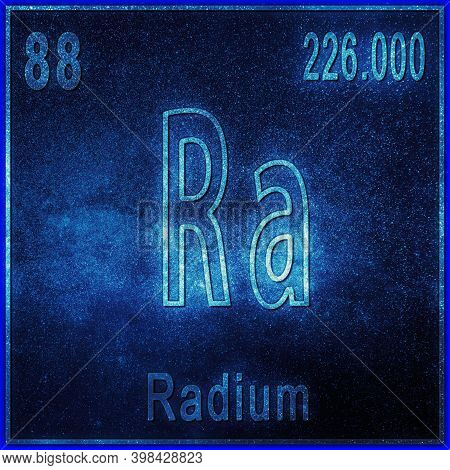 Radium Chemical Element, Sign With Atomic Number And Atomic Weight, Periodic Table Element