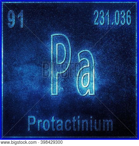 Protactinium Chemical Element, Sign With Atomic Number And Atomic Weight, Periodic Table Element