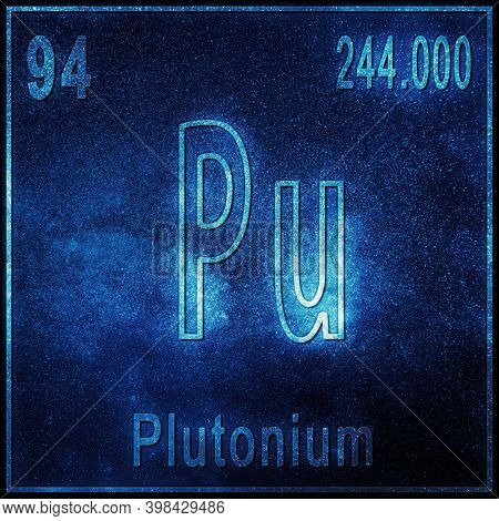 Plutonium Chemical Element, Sign With Atomic Number And Atomic Weight, Periodic Table Element