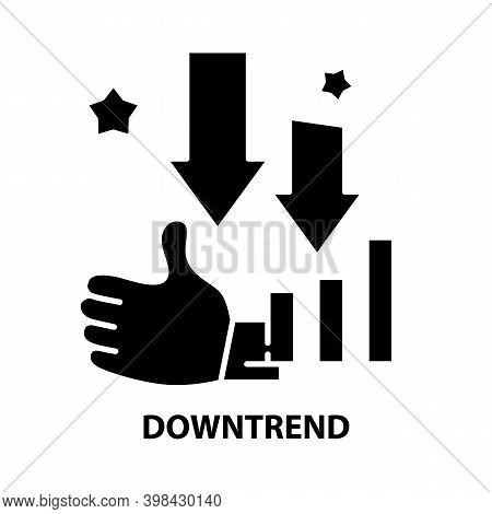 Downtrend Icon, Black Vector Sign With Editable Strokes, Concept Illustration