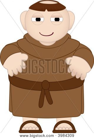 Tubby Monk In Brown Robes Wearing Sandals