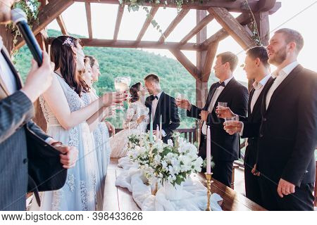 Boho Style Wedding Party. Banquet With Friends, Bride And Groom.