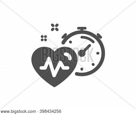 Cardio Training Timer Icon. Fat Burning Time Sign. Gym Fit Heartbeat Symbol. Quality Design Element.