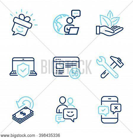 Technology Icons Set. Included Icon As Phone Survey, 5g Internet, Smile Signs. Cashback, Communicati