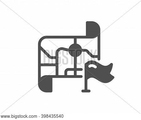 Flag On Map Icon. Goal Destination Sign. Location Pin Symbol. Quality Design Element. Flat Style Des