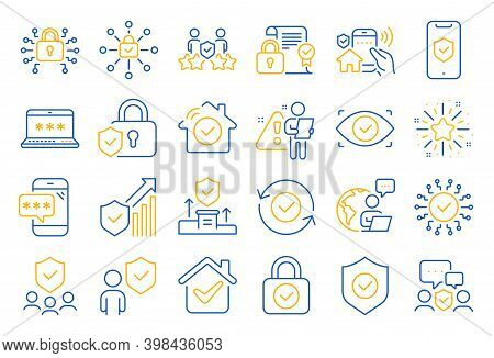 Security Line Icons. Cyber Lock, Password, Unlock. Guard, Shield, Home Security System Icons. Eye Ac