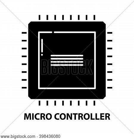 Micro Controller Icon, Black Vector Sign With Editable Strokes, Concept Illustration
