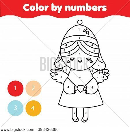 Christmas Angel Coloring Page. Educational Children Game. New Year Color By Numbers Activity For Kid