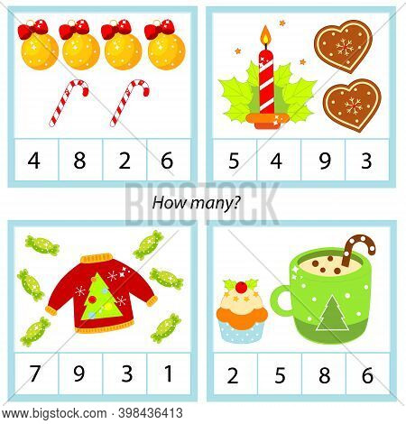 Counting Educational Children Game, Kids Activity. How Many Objects. New Year And Christmas Sweets A