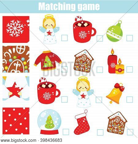 Matching Game. Educational Children Activity New Year, Christmas, Winter Holidays Theme. Match Patte
