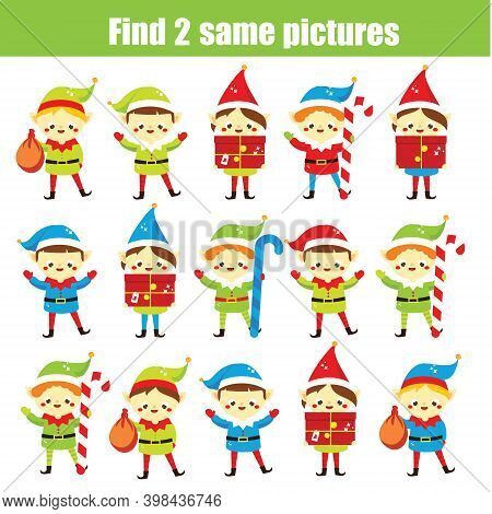 Children Educational Game. Find The Same Pictures. Find Two Identical Santa Elf. Christmas Fun For K