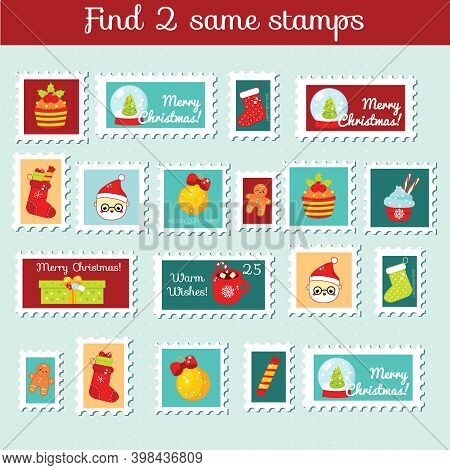 Children Educational Game. Find The Same Pictures. Find Two Identical Christmas Stamps. New Year Fun