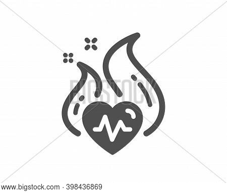 Cardio Training Icon. Fat Burning Workout Sign. Gym Fit Heartbeat Symbol. Quality Design Element. Fl