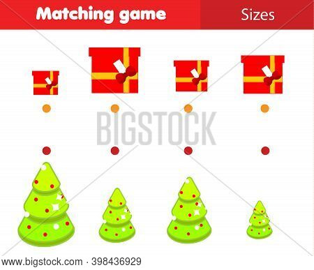 Match By Size Educational Children Game. Connect Gifts And Christmas Spruce. New Year Holidays Activ