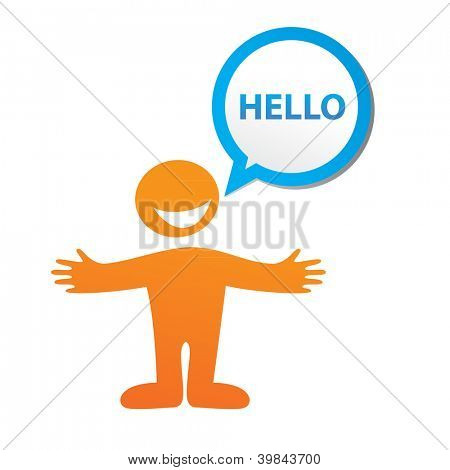 Hello-message - color signs with blank white copyspace for text. Vector template.
