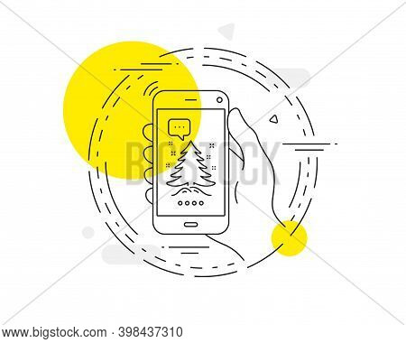 Christmas Tree Present Line Icon. Mobile Phone Vector Button. New Year Spruce Sign. Fir-tree Symbol.