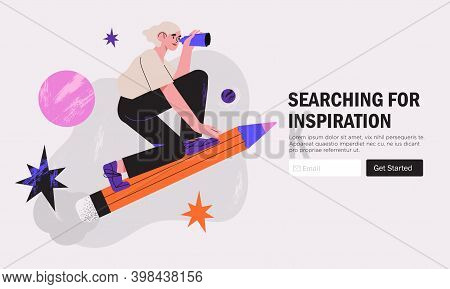 Woman Designer Flying On Pencil . Creative Or Educational Process Banner, Ad, Landing Page Or Poster