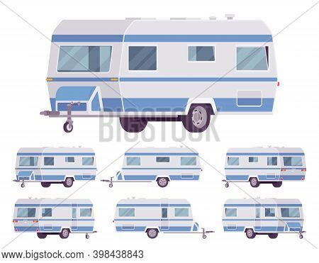 Rv Vintage Style Camper, Travel Trailer For Outdoor Adventures. Functional Vacation Van, Camping Exp