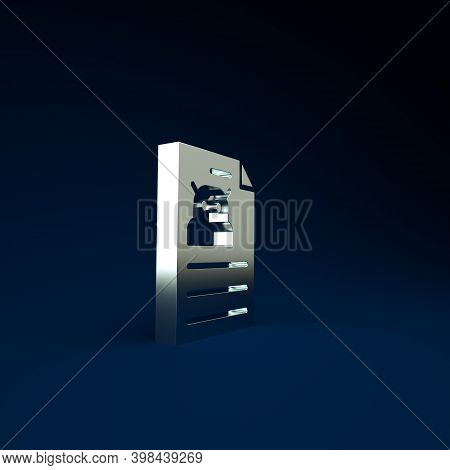 Silver Technical Specification Icon Isolated On Blue Background. Technical Support Check List, Team