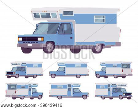 Rv Camper Van Car, Recreational Vehicle Set. Motorhome Trailer With Living Accommodations, Holiday J