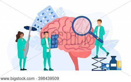 Doctors Neurologists Examining Patients Brain. Abstract Medical Treatment And Medical Care Concept.