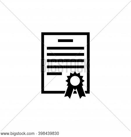 Certification Diploma, Qualification Certificate. Flat Vector Icon Illustration. Simple Black Symbol