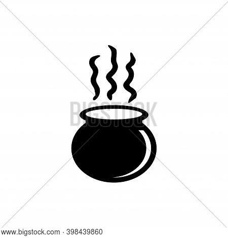 Boiled Cauldron, Halloween Witch Caldron. Flat Vector Icon Illustration. Simple Black Symbol On Whit