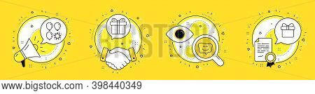 Balloon Dart, Gift Box And Smile Face Line Icons Set. Megaphone, Licence And Deal Vector Icons. Wish