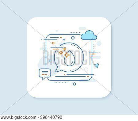 Water Drop Line Icon. Abstract Square Vector Button. Clean Crystal Aqua Sign. Liquid Symbol. Water D