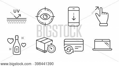 Scroll Down, Delivery Timer And Eye Target Line Icons Set. Change Card, Uv Protection And Touchscree