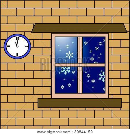 Snowflake drop outside the house