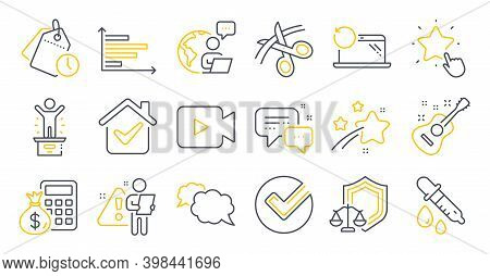 Set Of Education Icons, Such As Scissors, Guitar, Messenger Symbols. Justice Scales, Ranking Star, H