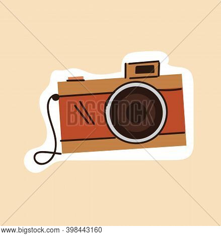 Brown Outline Vintage Camera On Beige Background. Concept Of Doodle Hipster Stylish Photography For