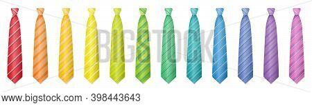 Ties Set. Rainbow Gradient Spectrum Of Twelve Colorful Cravats Or Neckties. Isolated Vector Illustra