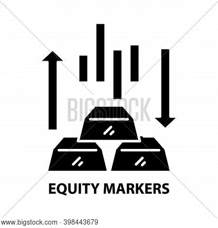 Equity Markers Icon, Black Vector Sign With Editable Strokes, Concept Illustration