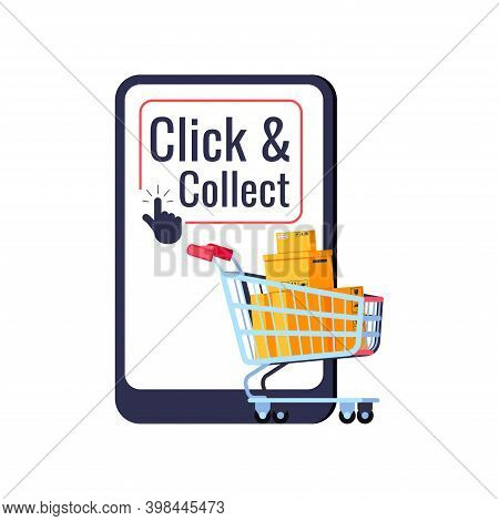 Click And Collect Delivery Online Retail Icon Isolated On White Background. Easy Purchase Concept Sh
