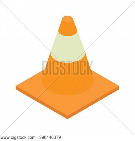 Isometric Traffic Cone Icon.traffic Cone Vector Illustration Isolated On White Background.