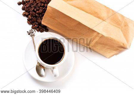 Espresso Cup And Coffee Beans Pack. Good Morning Concept. Composition On The White Background