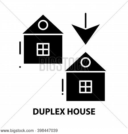 Duplex House Icon, Black Vector Sign With Editable Strokes, Concept Illustration