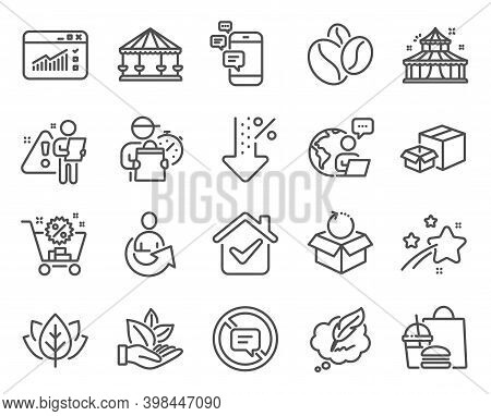 Business Icons Set. Included Icon As Stop Talking, Shopping Cart, Organic Product Signs. Packing Box