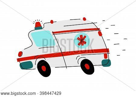 Cartoon White Ambulance With Red Signs. Medical Rescue Vehicle Isolated On White Background. Paramed