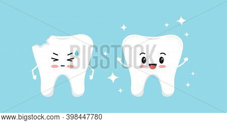 Chipped Tooth And Healthy Tooth Before, After Treatment Icon Set. Broken Teeth With Problem Treatmen