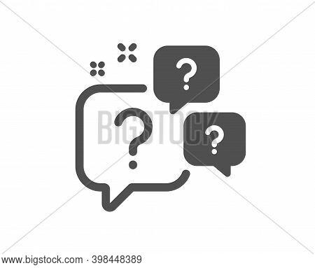 Question Bubbles Icon. Ask Help Sign. Faq Questionnaire Symbol. Quality Design Element. Flat Style Q