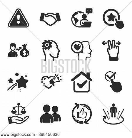 Set Of People Icons, Such As Justice Scales, Love Message, Romantic Talk Symbols. Handshake, Refresh