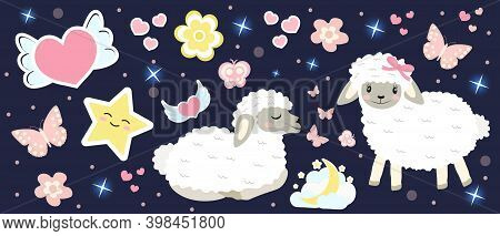 Cute Sheep Set Objects. Collection Design Elements With Lambs, Hearts, Stars, Lovely Flowers, Moon.