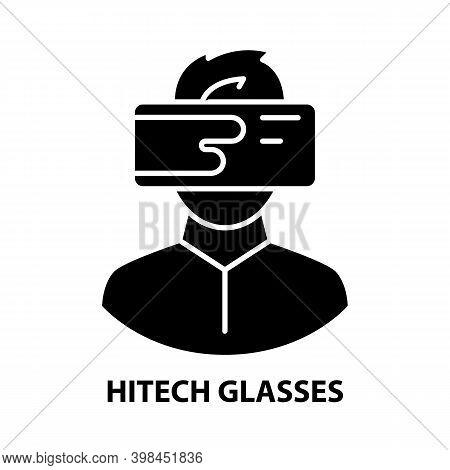 Hitech Glasses Icon, Black Vector Sign With Editable Strokes, Concept Illustration