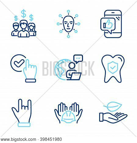 People Icons Set. Included Icon As Face Biometrics, Dental Insurance, Salary Employees Signs. Mobile