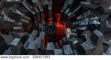 Futuristic Architecture Science Fiction Abstract Design Industrial Grunge Geometric Shape 3d Render