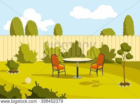 Patio Area. Sunny Back Yard With Green Lawn, Fence And Trees. Home Suburb Patio Or Courtyard Area Wi