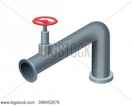 Isometric Pipe. Water Tube Or Pipeline With Red Valve. Oil Or Gas Industry Tube Construction. Plasti